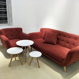 Sofa văng đỏ màu sẫm 1m8