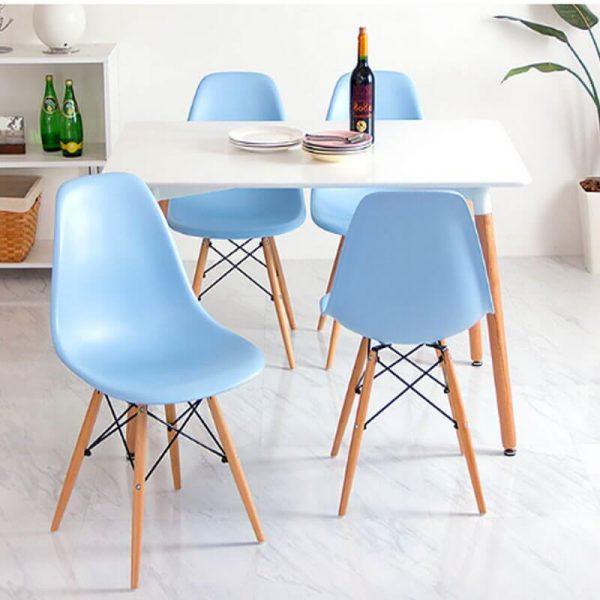 bàn ăn eames 4 ghế xanh