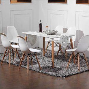 bàn ăn eames 6 ghế trắng