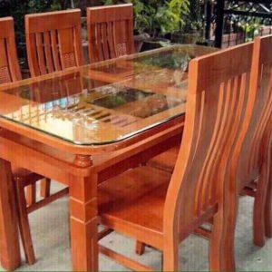 bàn ăn gỗi sồi 6 ghế đỏ