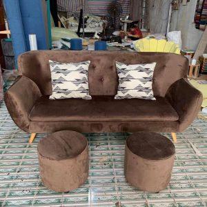 sofa nỉ nhung nâu